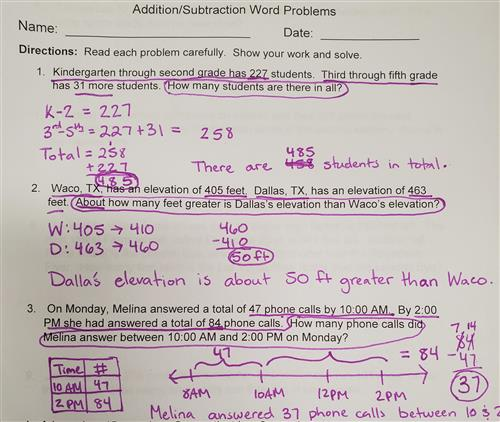 Examples of addition and subtraction word problems in 3rd grade