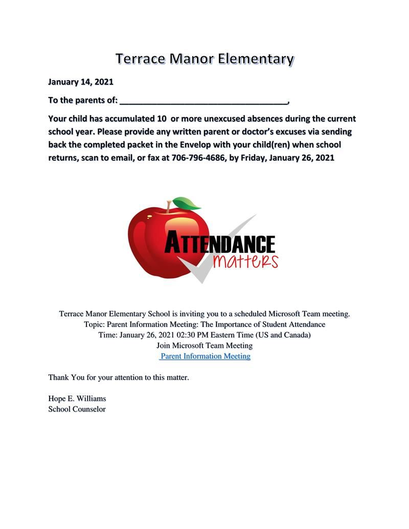 Parent Information- Attendance Meeting  January 26, 2021
