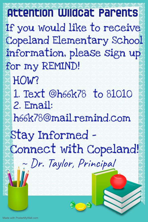 Connect with Copeland Principal's REMIND