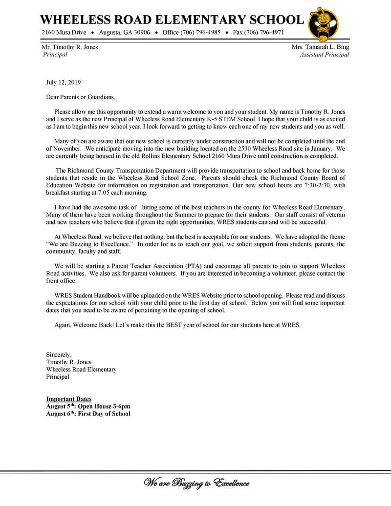 Wheeless Road Principal Letter