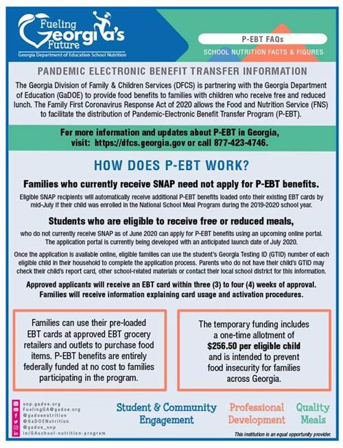 A picture of a flyer detailing information on the Pandemic Electronic Benefit Transfer