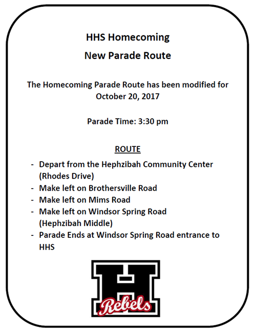 Homecoming Parade Route Change