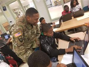 Chief Hurst from Ft. Gordon cyber command helping with coding