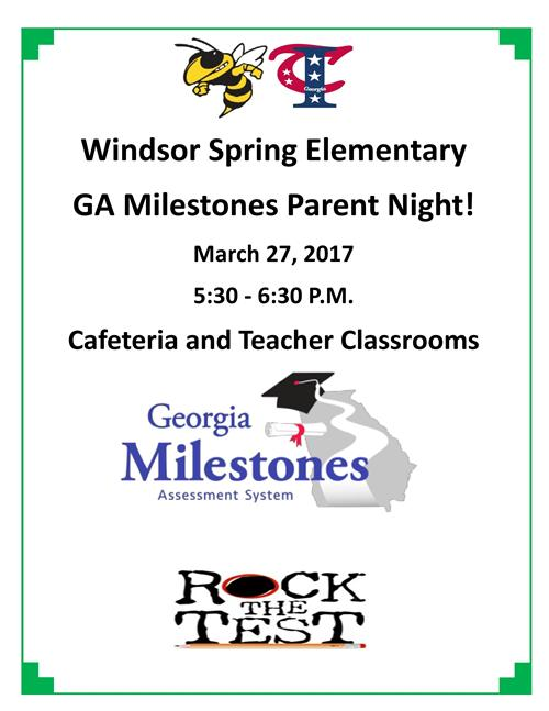Ga Milestones Parent Night