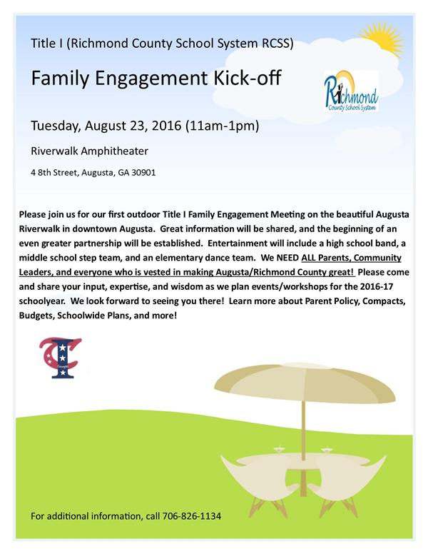 Title I Family Engagement Kickoff Flyer